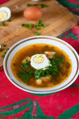 Dish with vegetable soup and half egg — Stock Photo