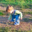 Стоковое фото: Child in jeans coverall on outing