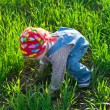 Stock Photo: Baby in bandanon all fours in field
