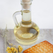 Sunflower seed oil in the glass jug — Stock Photo