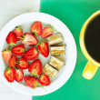 Summery breakfast - strawberry, chocolate and tea — Stock Photo