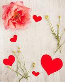 Quadro para escrita de corações e flores — Fotografia Stock
