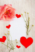 Paper for writing, rose and hearts — Stock Photo