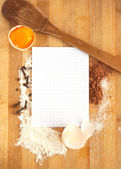 Frame of food ingredients and paper for recipe — Stock Photo