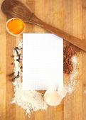 Marco de papel por receta y los ingredientes de allimenticio — Foto de Stock