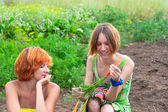 Two farmer woman — Stock Photo
