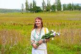Beautiful smile cheerful hippie woman — Stock Photo