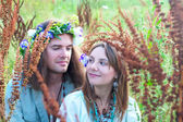 Couple young hippie — Stock Photo