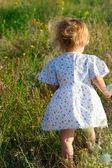 Niña de vestido en medio de la hierba — Foto de Stock