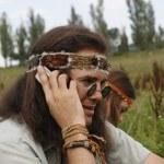 Hippie men speak on the mobile phone — Stock Photo #29591697