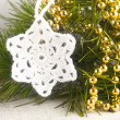 Crocheted white star — Stock Photo