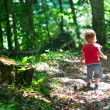 Little girl follow the path in the forest — Stock Photo #30031331