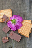 Cut flowers chocolate and pastry — Stock Photo