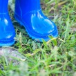 Dark blue wellington boots — Stock Photo