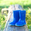 Dark blue child's wellington boots — Stock Photo