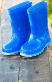 Blue child's wellington boots — Foto Stock