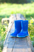 Dark blue child's wellington boots — Stock Photo