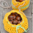 Crocheted bag with hazelnut — Stock Photo