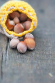 Crocheted yellow bag with hazelnut — Stock Photo