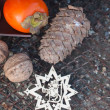 Ebony, walnut, fir cone and New Year's wood star — Stock Photo