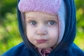 Touching big-eyed child — Stock Photo