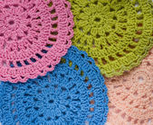 Background of multicolored crochet napkin  — Stock Photo