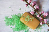 Soap, aromatic bath salt, twig with spring flowers — Stock Photo