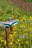 Stool with crochet striped seat  — Stock Photo
