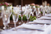 Wine and champagne glasses on table. Selective focus — Stock Photo