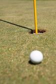 Golf ball laying on the green — Stock Photo