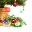 Christmas decorations and tree. Isolated — Stock Photo #27305703
