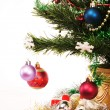 Decorated Christmas tree on white background — Stock Photo