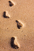 Pegadas na areia da praia — Fotografia Stock