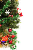 Decorated Christmas tree with white background — Stock Photo