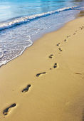 Footprints on the wet sand, Hawaii — Stock Photo