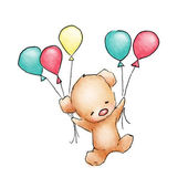 Baby Bear flying with colorfull balloons — Stock Photo
