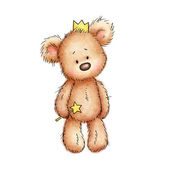 Teddy bear in crown — Stock Photo