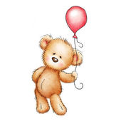 Teddy bear with red balloon — Stock Photo