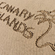 Stock Photo: Canary Islands, sand writing on beach of El Papagayo