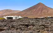 Rustic house in an arid landscape in Tahiche, Lanzarote, Canary Islands, Spain — Stock Photo