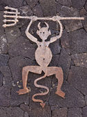 The devil as symbol for Timanfaya national Park, Lanzarote — Stock Photo