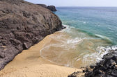 Beautiful empty El Papagayo small beach in late afternoon sunshine, Lanzarote,Canary Islands — Stock Photo