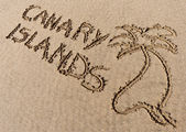 Canary Islands, sand writing on the beach of El Papagayo — Stock Photo
