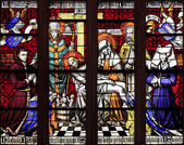 The stained glass window of Piety at hospice in Beaune, France — Stock Photo