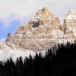 South side of the Tre Cime di Lavaredo as seen Misurina lake, Italy — Stock Photo