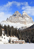 Panoramic View of Dolomiti Mountains and Misurina Lake in winter, Italy — Stock Photo