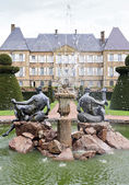 Viewscape of Dree castle and fountain, Curbigny, Bourgogne, France — Stock Photo