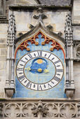 Ancient astronomical clock on the facade of famous Autun cathedral — Stock Photo