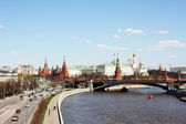 Moscow, river, highway and Kremlin — Stock Photo