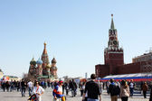 On the red square in Moscow before may 9 - Victory day — Stock Photo